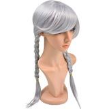 三つ編み ウィッグ グレー銀髪 かつら コスプレ 仮装 パーティー イベント