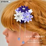 つまみ細工 紫の髪飾り 和風 着物 アクセサリ- ゆうメールOK