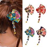 中華風 ロングリボン フラワー ヘアクリップ 髪飾り ゆうパケット2点まで可能