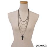 ネックレス 5連 ロング チェーン 十字架 クロス ロザリオ シルバー アクセサ...